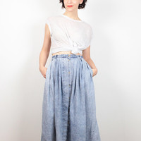 Vintage 80s Skirt Acid Wash Denim Skirt High Waisted Skirt 1980s Skirt New Wave Chambray Skirt Lightweight Worn Blue Jean Skirt XS S Small