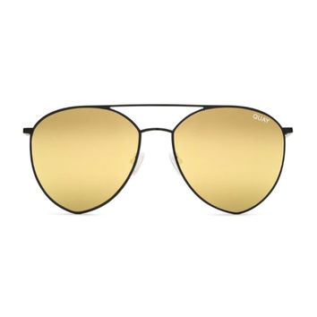 Quay - Indio Sunglasses - Black/ Gold Mirror