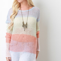 Multi-Tone Semi-Sheer Loose Knit Top