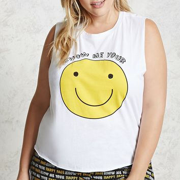 Plus Size Happy Face PJ Set