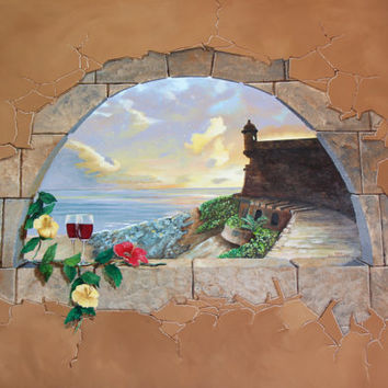 Fine art giclee print of  trompe-l'oeil painting of El Morro in Puerto Rico