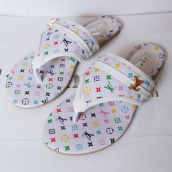 LV Women Trending  Fashion Casual Logo Sandal Slipper Shoes White G