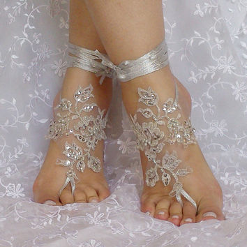 Free Ship Bridal Bangle Ivory Silver Embrodeired Flowers Beach Wedding Barefoot Sandals