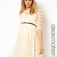ASOS Maternity Lace Skater Dress with Belt And 1/2 Sleeve