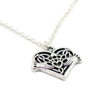 Celtic Heart Necklace, Celtic Heart Charm Necklace, Irish Charm Necklace, Irish Necklace, Celtic Heart Jewelry, Hearts And Hand Charm