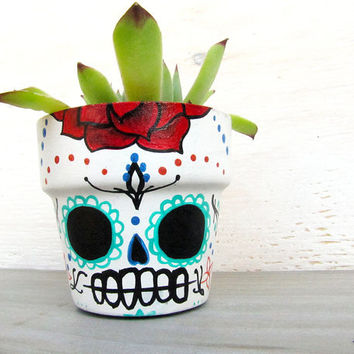 Sugar Skull Planter with Succulent - Dia de los Muertos Day of the Dead Tattoo Terra Cotta