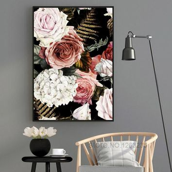 Noble Flower Classic Roses Cuadros Decoracion Love Wall Art Canvas Painting Nordic Poster Wall Decor Posters And Prints Unframed