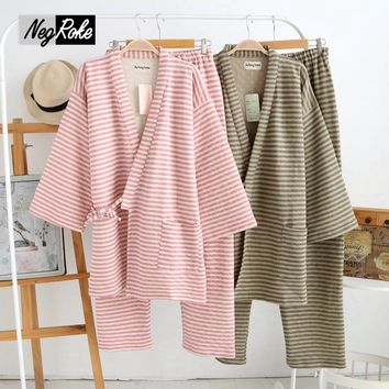 New Winter keep warm Japanese kimono women pajama sets autumn thicken striped long-sleeved pure cotton robes sets for women