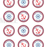 Nautical sticker Cupcake Topper, Tags,. Birthdays and Baby Shower. Anchor, steering wheel. Digital file