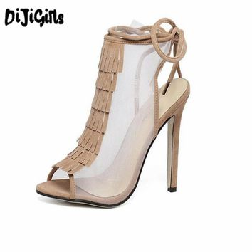 High Heels Sandal sexy Tassel Women gladiator Sandals Fashion strappy Open Toe Summer style Party shoes