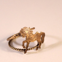 Carousel Horse Ring- Yellow Bronze Horse- Goldfilled Twisted Double Band- Antique Patina Finish- Various Size Available