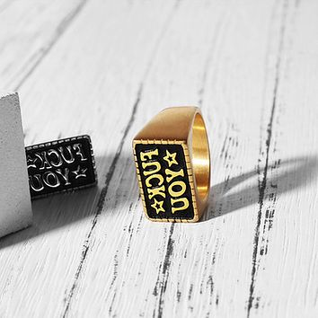Minimalism Creative Simple Fashion Unisex Letter Ring Couple Little Finger Ring