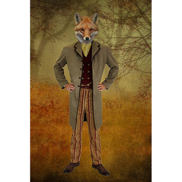 Mr. Fox in The Magic Forest - Victorian Suit - Digital Composite