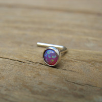 Nose & Tragus Stud 09 Opal Sterling Silver