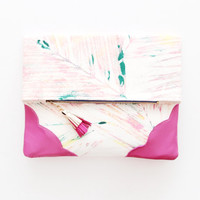 RESERVED for Jaslyn / PALM BEACH 4  / Hand printed cotton & Natural leather folded clutch bag - Ready to Ship