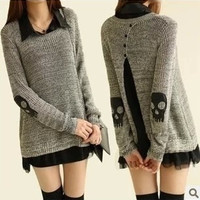 spring skull applique twinset sweater for women chiffon one-piece dress punk pullover women's sweater (Size: L, Color: Grey)