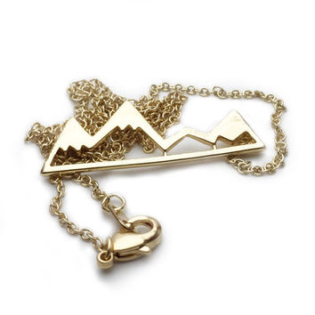 Mountain Necklace Gold Necklace Gold Jewelry Fashion Necklace Fashion Jewelry Snow Capped Mountains Showboarder Skier Skiing Necklace