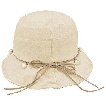 Dahlia Women's Summer Sun Hat Pearl Drop Accented Bucket Hat, Tan