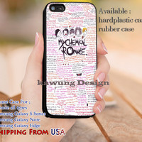 Lyrics Collage My Chemical Romance iPhone 6s 6 6s+ 5c 5s Cases Samsung Galaxy s5 s6 Edge+ NOTE 5 4 3 #music #mcr dl13