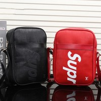 """Louis Vutitton×Supreme"" Unisex Fashion Casual Logo Letter Single Shoulder Messenger Bag Small Square Bag"