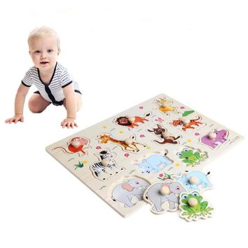 3D Puzzle Baby Wooden Wooden Animal Jigsaw Playing Games Board Jigsaw Kids Toys for Children Funny Educational Birthday Gifts
