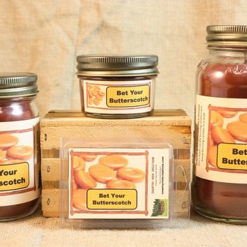 Bet Your Butterscotch Candle, Candy Scent Candles and Wax Melts, Highly Scented Candles and Wax Tarts, Sweet Scent Mason Jar Candle