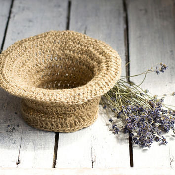 Eco Friendly Jute Basket, Handmade Natural Bowl, Jewelry Storage Box, Crochet Rustic Home Decor, French Country Kitchen