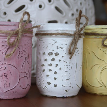 Set of 3 Painted Mason Jars, Shabby Chic Decorative Jars, Wedding Centerpieces, Rustic Decor, Farmhouse, Wedding Favors, gifts