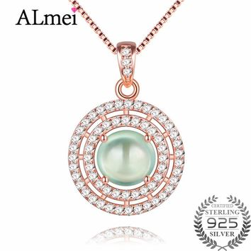Almei Green Jade Double Circles Pendant Necklaces Silver 925 Rose Gold Color Statement Jewelry for Women with Free Box 40% FN004