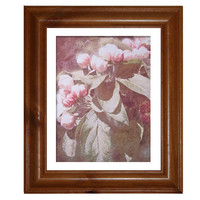 Shabby Chic Photography, Pink Apple Blossom on Watercolour Paper, Soft Pink, Bedroom Art, Free Shipping