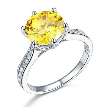925 Sterling Silver Bridal Engagement Luxury Ring 3 Carat Yellow Canary Simulated Diamond Jewelry