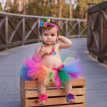 Rainbow Tutu w/Clip-On Satin Bow, Photo Prop, Smash Cake, Rainbow Birthday Baby Tutu, Girl Birthday Outfit, Dance Tutu - Made for any age