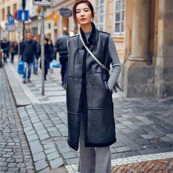 16New Spring Winter Thicken Sleeveless Outerwear Female long Jacket Double-Faced Fur Vest Black faux cashmere Straight overcoat