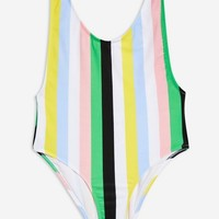 Striped Scoop Swimsuit | Topshop