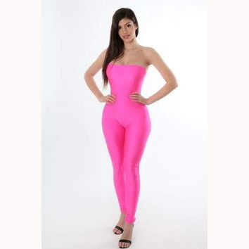 Night Fever Jumpsuit-Neon Pink