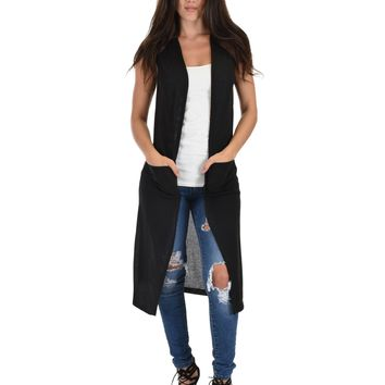 Lyss Loo Cover Me Up Long-line Black Cardigan Vest With Pockets