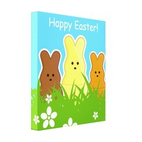 Cute Easter Bunnies Wrapped Canvas