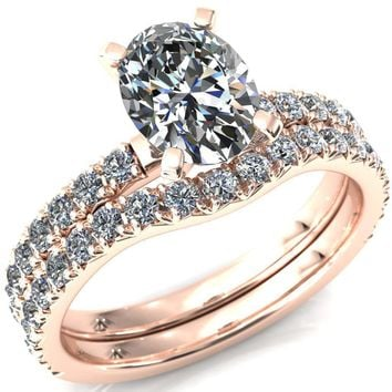 Nefili Oval Moissanite 4 Prong 3/4 Eternity Diamond Accent Engagement Ring