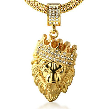 "SUMMER SALE! Halukakah® Men's 18k Real Gold Plated ""KINGS LANDING""Crown Lion Pendant Necklace,Cz Inlay,with FREE Fishtail Chain 30"""