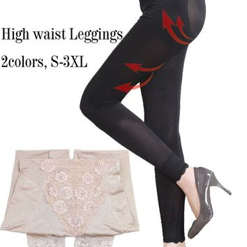 Asian Sz High Waist Magic Body Shaper Plus size Shapewear Leggings Steel Bones Tight Pants Firm Black Legs waist control Shapers