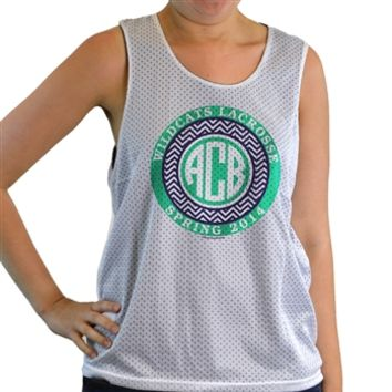 Girls Racerback Pinnie Monogram With Chevron Pattern Green | Lacrosse Racerbacks | Lacrosse Pinnies | Lacrosse Tank Tops | Pinnies for Lacrosse Players