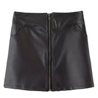 Black Leather Front Zipper Mini Skirt