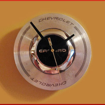 Camaro Clock is a Repurposed Chevy Center Hubcap for Mancave Industrial Decor