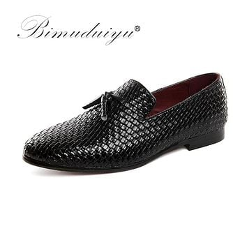 Men Shoes luxury Braid Leather Casual Driving Oxfords Shoes Men Moccasins Shoes for Men Flats