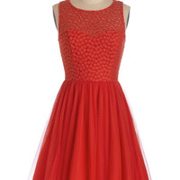 ModCloth Mid-length Sleeveless A-line Scarlet Celebration Dress