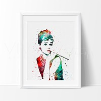 Audrey Hepburn, Breakfast at Tiffany's Watercolor Art Print