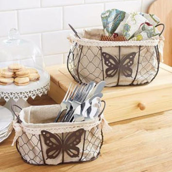 Basket Set Rustic Country Butterfly Chicken Wire Fabric Lined Lace Handles NEW