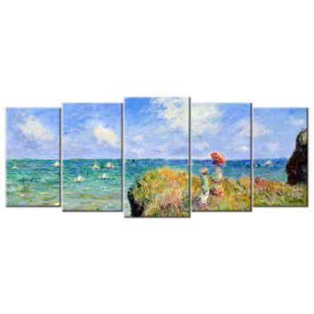 Monet Oil Painting Stock Photo 01 - 5 panels L