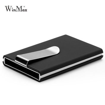 2017 High Quality Id Credit Card Holder Automatic Card Sets Business Aluminum PU Card Holder Wallet Solid Color Cash Clip Wallet