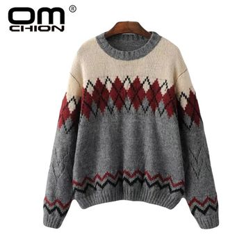 Jacquard Sweater Women O Neck Long Sleeve Jumper Casual Geometric Autumn Pullover Vintage Knitted Sweater